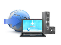 Download music from internet to personal computer Stock Photo