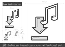 Download music line icon. Download music vector line icon isolated on white background. Download music line icon for infographic, website or app. Scalable icon Royalty Free Stock Images