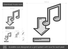 Download music line icon. Download music vector line icon isolated on white background. Download music line icon for infographic, website or app. Scalable icon Stock Photography