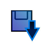 Download now!. Blue download symbol. Downloading files/ products Royalty Free Stock Photography