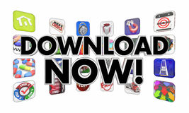 Download Now Apps Mobile Software Programs Stock Photo