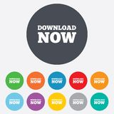 Download now icon. Load button. Download now icon. Download button. Load symbol. Round colourful 11 buttons Royalty Free Stock Image