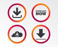 Download now signs. Upload from cloud icon. Download now icon. Upload from cloud symbols. Receive data from a remote storage signs. Infographic design buttons Stock Photography