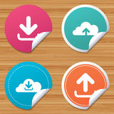 Download now signs. Upload from cloud icon. Royalty Free Stock Image