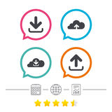 Download now signs. Upload from cloud icon. Download now icon. Upload from cloud symbols. Receive data from a remote storage signs. Calendar, internet globe and Royalty Free Stock Photo