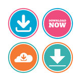 Download now signs. Upload from cloud icon. Royalty Free Stock Images
