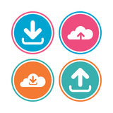Download now signs. Upload from cloud icon. Stock Image