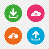 Download now signs. Upload from cloud icon. Download now icon. Upload from cloud symbols. Receive data from a remote storage signs. Round buttons on transparent Stock Photography