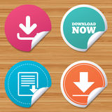 Download now signs. Upload file document icon. Round stickers or website banners. Download now icon. Upload file document symbol. Receive data from a remote Royalty Free Stock Photos