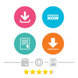 Download now signs. Upload file document icon. Royalty Free Stock Images