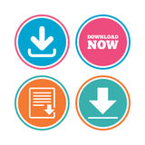 Download now signs. Upload file document icon. Download now icon. Upload file document symbol. Receive data from a remote storage signs. Colored circle buttons Stock Images
