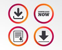 Download now signs. Upload file document icon. Download now icon. Upload file document symbol. Receive data from a remote storage signs. Infographic design Royalty Free Stock Photography
