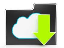Download-Pfeil und Wolken-Datei, die Downloading zeigt Lizenzfreie Stockfotografie