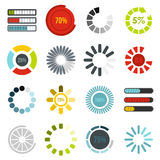 Download progress bar icons set, flat style Royalty Free Stock Images