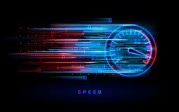 Download progress bar or round indicator of speed. Download progress bar or round indicator of web speed. Sport car speedometer for hud background. Gauge control stock illustration