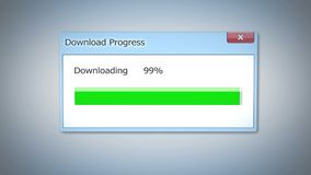 Download progress almost done, dialog box with green status bar, software update. Stock footage Royalty Free Stock Image