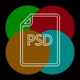 Download PSD document icon - vector file format. Symbol. Thin line pictogram - outline editable stroke royalty free illustration