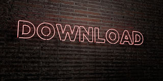 DOWNLOAD -Realistic Neon Sign on Brick Wall background - 3D rendered royalty free stock image Royalty Free Stock Photography