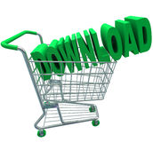 Download Shopping Cart Word Digital File Purchase. A shopping cart with the word Download in it to illustrate purchasing online files or documents and Stock Photo