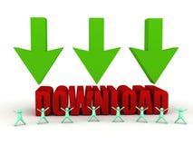 Download sign and cartoon men Stock Image