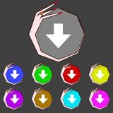 Download sign. Downloading flat icon. Load label. Set colourful buttons Vector illustration Royalty Free Stock Photos