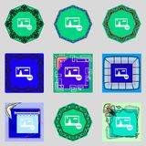 Download sign. Downloading flat icon. Load label. Set colourful buttons Vector illustration Stock Photography