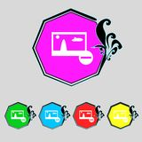 Download sign. Downloading flat icon. Load label. Set colourful buttons Vector illustration Stock Photos