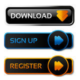 Download, sign up and register black buttons with arrows - labels on the white background Stock Images
