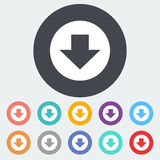 Download. Single flat icon on the circle. Vector illustration Stock Image