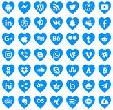 Download Social media icons Vector love. Logos Social Networks Transparent blue Facebook Twitter Android iPhone YouTube Google nnn royalty free illustration