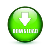 Download text with arrow down sign on green button Royalty Free Stock Photo