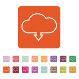 The download to cloud icon. Download symbol. Flat. Vector illustration. Button Set Stock Photo