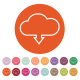 The download to cloud icon. Download symbol. Flat. Vector illustration. Button Set Royalty Free Stock Photos