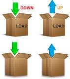 Download- und Antriebskraftkästen Stockfotografie