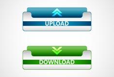 Download- und Antriebskraftnetzikonen, Knöpfe Lizenzfreie Stockfotos