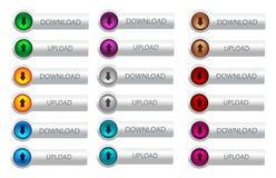 Download- und Antriebskraftnetzknopf Stockbilder