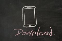 Download unter Verwendung des Mobiles Stockbild