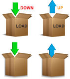 Download and Upload boxes Stock Photography