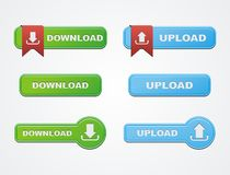 Download and upload button sets Stock Image