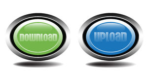 Download and upload buttons. Two metallic buttons for download and upload suitable for websites Royalty Free Stock Photo