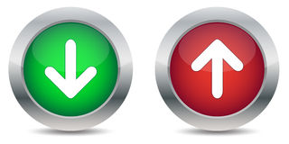 Download and upload buttons. Isolated on white background Royalty Free Stock Images