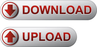 Download and upload buttons. Metal download and upload buttons with red title