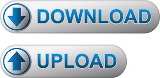 Download and upload buttons. Metal download and upload buttons with blue title Stock Photography