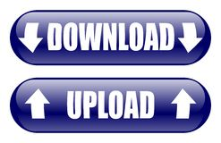 Download Upload Buttons. Download and upload blue buttons on white background Stock Images