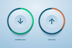 Download and upload buttons with progress bar. Royalty Free Stock Images