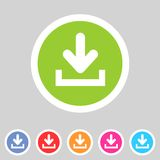 Download upload flat icon, button set, load symbol Royalty Free Stock Photography