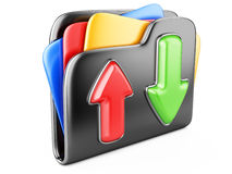 Download - upload folder 3d icon. Stock Photos