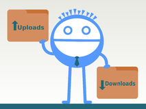 Download and upload. A man holding folders with uploads and downloads words stock illustration