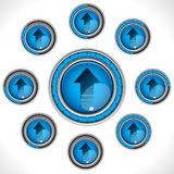 Download Upload Shiny Blue Button. With Bars Royalty Free Stock Images