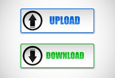 Download and upload  web icons, buttons Stock Photo